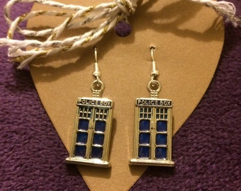 Police Box 'TARDIS' Earrings. Silver Plated. Time Traveller. Sci Fi Gift.