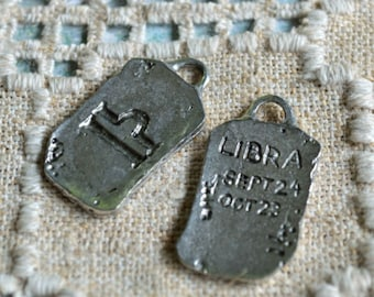 "Libra ""The Scales"" Zodiac Astrology Sign of September October Pewter Ancient Pendant"