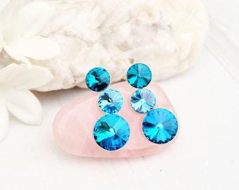 Sea blue Swarovski crystal earrings bridesmaid wedding Swarovski jewellery Sterling Silver stud earrings 3 Rivoli earring Bermuda Blue