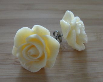 Large Light Yellow Flower Earrings