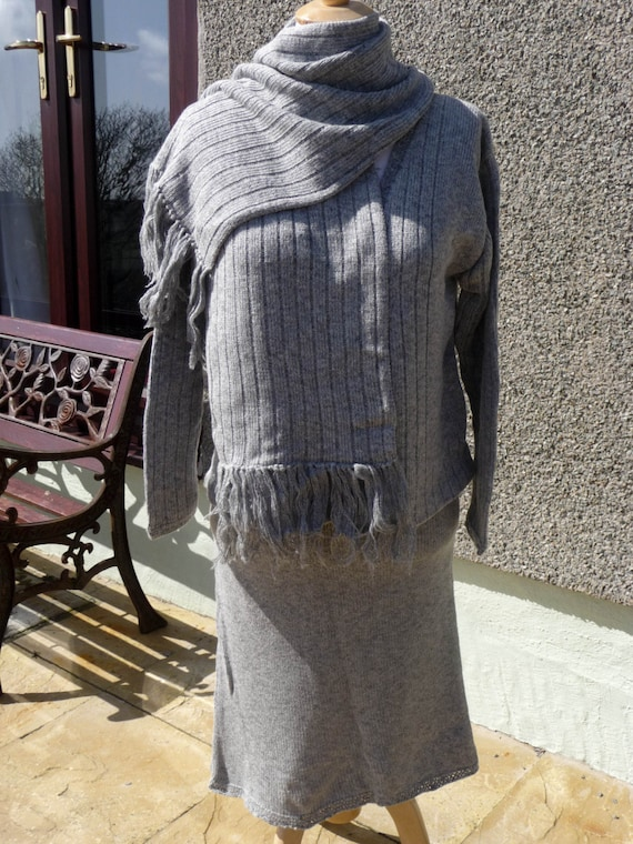 Knitted Suit, Comprising of Skirt, Jacket and Scarf all matching