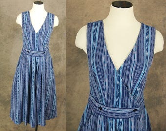 vintage 70s Wrap Dress - Ethnic Guatemalan Dress - 1970s Blue Ikat Sun Dress Sz M