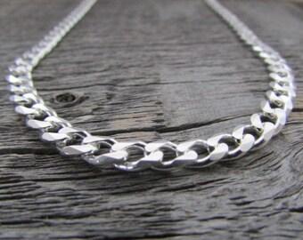 Sterling Silver Curb Chain, 30 Inch Chain, 6mm Chain, Sterling Silver Cuban Chain, Cuban Curb Chain, 925 Chain, Italian Silver Chain