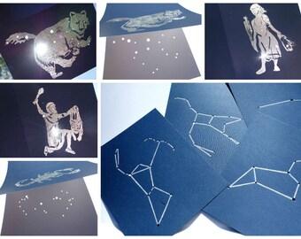 "8""X8"" Custom Shadow Star Art  Illustration Constellations Line Embossed - Handmade by Dorana"