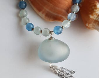 Hollow Blue Glass Bead Necklace