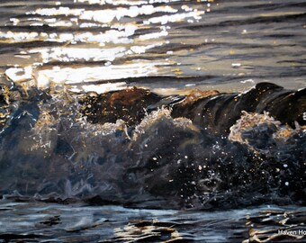 A3 Limited Edition Hand-Embellished print of 'White and Gold Sun on the Wave'. Seascape and breaking wave painting. Acrylic original art.