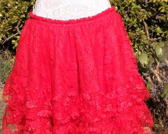 Red vintage lace skirt, tiered frill skirt, gothic skirt, steampunk skirt, evening skirt, maxi skirt, party skirt, size uk 14-18,usa 12-16