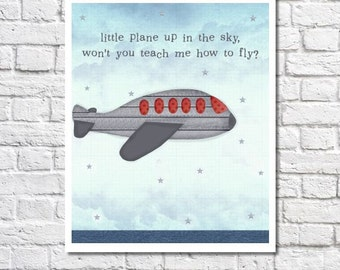 Navy And Gray Nursery Airplane Art Print Aeroplane Decorations Baby Boy Room Decor Transporation Wall Art Air Plane Poster Aviation Artwork