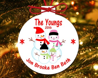 Family Christmas Ornaments. Personalized Family Christmas Ornaments. Custom Christmas Ornaments. Annual Christmas Ornaments. Snowman Family