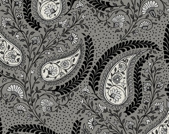 Paisley Fabric, Teardrop Print Fabric - In the Beginning Fabric -  3GSD Grey - Priced by the 1/2 yard