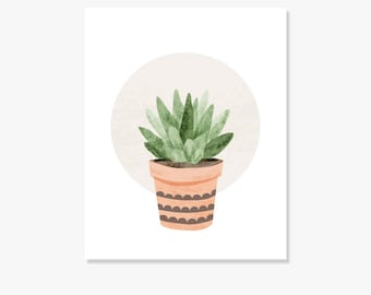 Original Cactus Succulent Drawing, Plant Illustration, Cactus Decor, Botanical Print