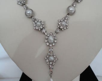 Vintage Panel & Chain Choker/Necklace - Clear Rhinestone in Silvertone with White Faux Pearl and Drop - 1990's - Wedding/Bridal/Prom/Ball