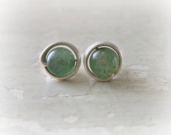 Aventurine Stud Earrings, Sterling Stud Earrings, Hypoallergenic, Sterling Studs, Green Stud Earrings, Stone Studs, Aventurine Earrings