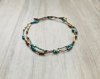 Playa Double Strand Bracelet with Tiny Turquoise & Gold Seed Beads on Silk Cord Boho Chic Layering Bracelet