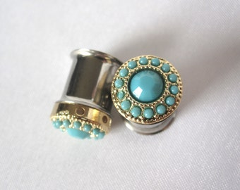 "Pair of Gold and Turquoise Feminine Plugs - Handmade Girly Gauges - 0g, 00g, 7/16"" (8mm, 10mm, 11mm)"