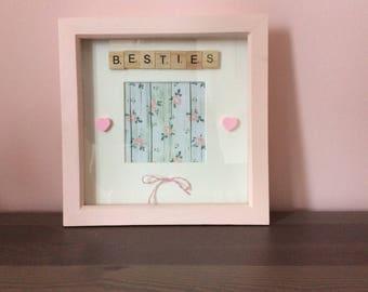 """Handmade Scrabble Tile Art boxframe photo frame """"Besties"""""""