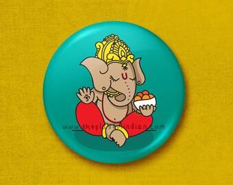 Ganesh - 45mm Pin Badge / Pocket Mirror / Fridge Magnet / Keyring