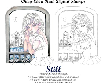 Still- PRINTABLE Instant Download Digital Stamp / City Scene Moon Night Fashion Lady Girl Art by Ching-Chou Kuik