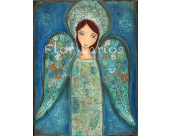 Angel Azul -  Print from Painting by FLOR LARIOS (6 x 8 inches)