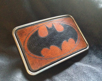 Leather batman belt buckle