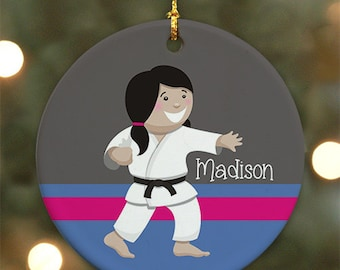 Personalized Karate Girl Ornament (Female version) - Personalized with Name