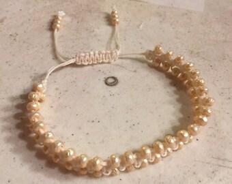 Cream Bracelet - Baroque Pearl Seed Beads - Wedding - Macrame Jewelry - Waxed Linen Cord - Adjustable Jewellery - Fashion - Trendy - Beaded