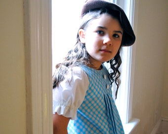 Easter Dress for Girls- Blue and White- Retro Style Dress with Box Pleats- Spring Kids Fashion