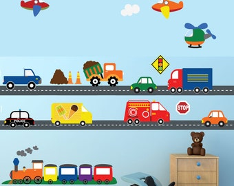 Cars Construction Airplanes Transportation Wall Decal, REUSABLE Decals Non-toxic Fabric Wall Decals for Kids, A194
