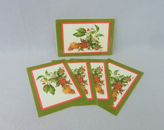 80s Hallmark Christmas Postcards - 24 Unused Cards - Holly Berry Nuts - Green Red Brown - Season's Greetings Christmas Cards - Vintage 1980s