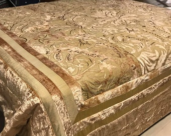 Embroidered bedspread with velvet and silk workmanship look antique boho style Victorian