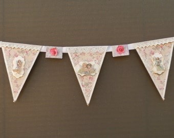 Angel Vintage Lace Cream Pink Flowers Banner Wall Hanging