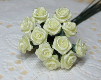 tiny satin roses on wire stems butter yellow miniature roses 8mm 1 dozen roses for crafting and scrapbooking