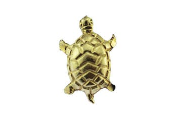 Small Gold Turtle Brooch, Small Gold Turtle Pin