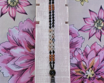 Onyx and Agate Tassel necklace