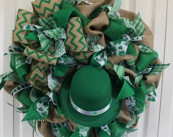 St. Patrick's Day Burlap Wreath . St. Patrick's Day Decoration.  Rustic St. Patrick's Day Decor.  Green Shamrock wreath.  Leprechaun wreath