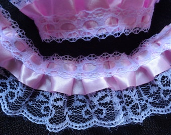 2 inch or 1 1/2 inch wide white/pink gathered lace price for 1 yard