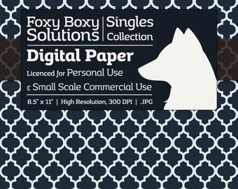 Moroccan Lattice Pattern Digital Paper - Single Sheet in Dark Blue & White - Printable Scrapbooking Paper