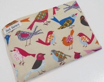 Reusable Sandwich Bag or Reusable Snack Bag Pretty Bird Snack Sandwich Bag
