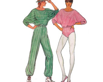 Butterick 4930, sewing pattern, size 8-12 women's stretch jumpsuit pattern, overalls pattern, loose fitting