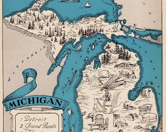 30's Vintage MICHIGAN Picture Map of Michigan State Cartoon Map Print Gallery Wall Art Map Collector Gift for Traveler Wedding Birthday Gift