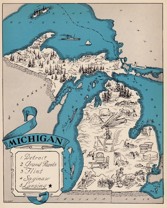 30s Vintage MICHIGAN Picture Map of Michigan State