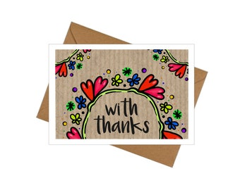 10 Pack Thank-you Cards with Envelopes - Doodles