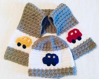 Toddler Racecar Hat & Scarf Set