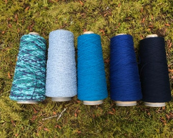 Aegean Sea Yarn Set - 5 cones of textured yarn - cotton and cotton blend