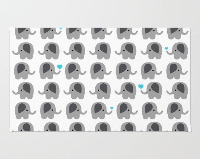 Elephant Floor Rug - Door Rug - Baby Blue Hearts - Bathroom Rug  - Original Art - Throw Rug - Nursery Rug - Made to Order
