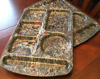 Prolon Ware - Set of 2 - Divided Trays - Blue Confetti / Splatter - Made in USA