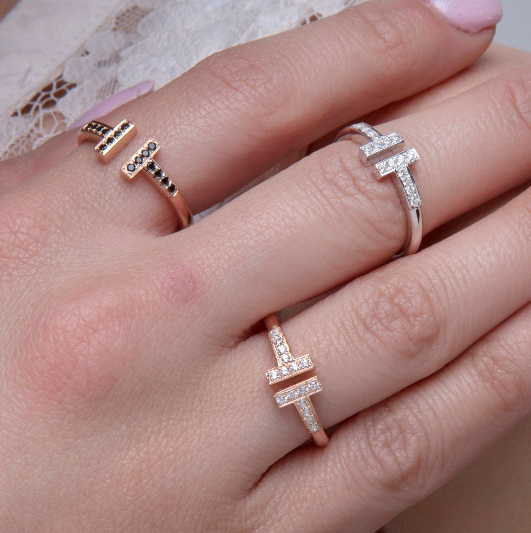 Solid gold T Double bar ring 18k Parallel bar ring 9k ring