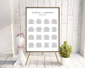 Wedding Seating Chart, Monogram Seating Chart, Black and White, Seating Chart PDF, Digital Seating Chart, DIY Seating Chart, Modern, Charley