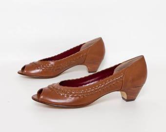 vintage 80s peep toe kitten heels   vintage deadstock NWT