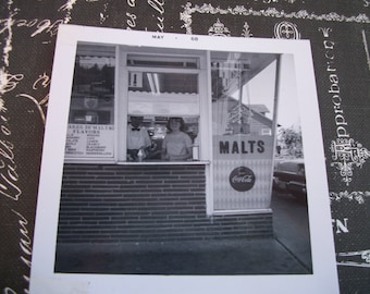 May 1968 Black and White Photo of Walk Up Window Malt Shop